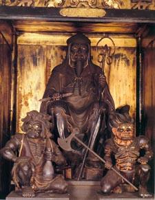 La statue secrète d'En-no-Gyoja dans le monastère du Mt Sanjo.