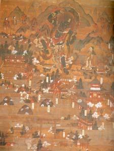 La carte ancienne du village de Yoshino avec l'apparition du dieu Zao-gongen
